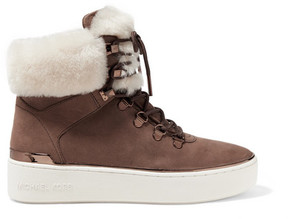 MICHAEL Michael Kors Kyle Shearling-trimmed Suede Ankle Boots - Chocolate