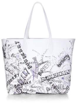 Burberry Coated Canvas Tote - WHITE - STYLE