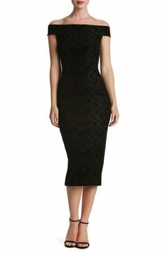 Dress the Population Women's Eden Geo Print Velvet Off The Shoulder Dress