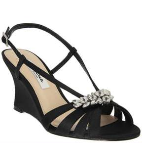 Nina Satin Viani Wedge Sandals.