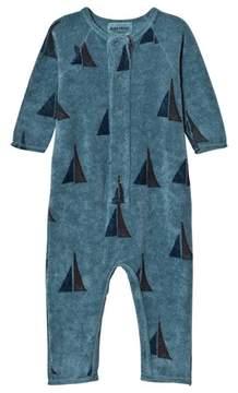 Bobo Choses Blue Alma Sailing Fleece Onesie