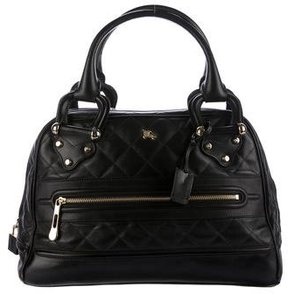 Burberry Quilted Leather Handle Bag - BROWN - STYLE
