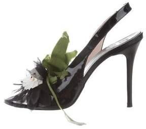 Fabi Flower-Accented Slingback Sandals