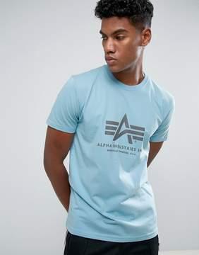 Alpha Industries Logo T-Shirt Regular Fit in Sky Blue