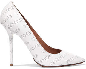 Vetements Naked Logo-perforated Leather Pumps - White