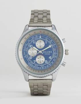 Reclaimed Vintage Inspired Chronograph Bracelet Watch In Silver Exclusive to ASOS