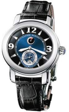 Ulysse Nardin Macho Palladium Blue Dial Black Leather Automatic Men's Watch 278-70-632