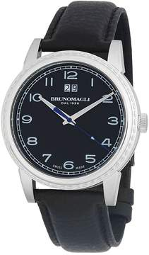 Bruno Magli Men's Stainless Steel Leather-Strap Watch