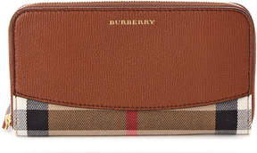 Burberry Elmore House Check & Leather Zip Around Wallet - ONE COLOR - STYLE