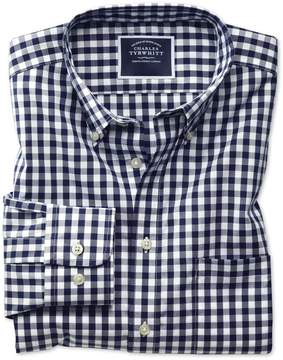 Charles Tyrwhitt Classic Fit Button-Down Non-Iron Poplin Navy Blue Gingham Cotton Casual Shirt Single Cuff Size Medium