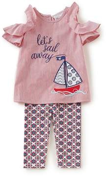 Rare Editions Little Girls 2T-6X Pinstripe A-Line Dress & Geometric-Printed Capri Leggings Set