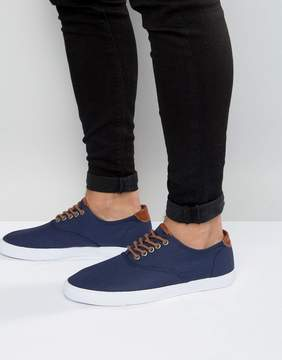 Asos Lace Up Sneakers In Navy With Tan Trims