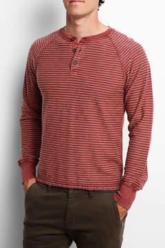 Jachs Red Slub Stripe Long Sleeve Henley Shirt