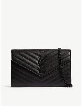 Saint Laurent Monogram quilted leather envelope clutch - BLACK - STYLE