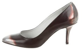 Jil Sander Leather Abstract Print Pumps