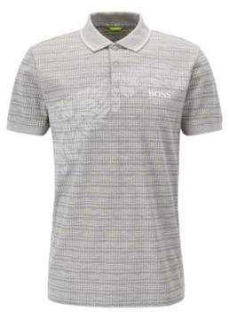 BOSS Hugo Cotton Blend Polo Shirt, Slim Fit Paule Pro L Light Grey
