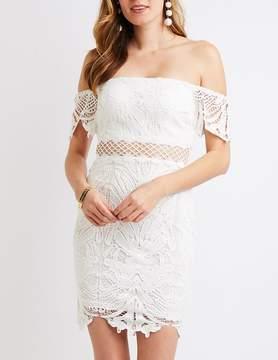 Charlotte Russe Crochet Off-The-Shoulder Bodycon Dress