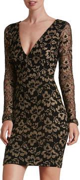 Dress the Population Erica V-Neck Brocade Mini Dress