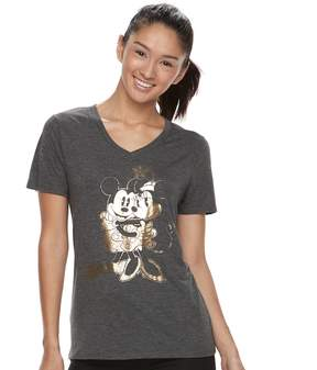 Disney Mickey & Minnie Mouse Juniors' Foil Tee