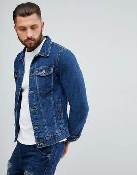 Pull&Bear Denim Jacket In Dark Blue Wash