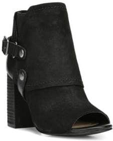 Fergie Roland Peep-Toe Western Style Suede Booties
