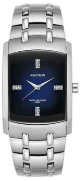 Swarovski Armitron Men's Crystal-Accented Silver-Tone Blue-Degrade Dial Dress Watch