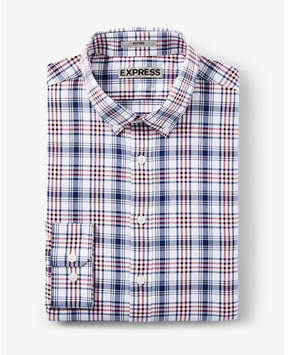 Express slim plaid performance dress shirt