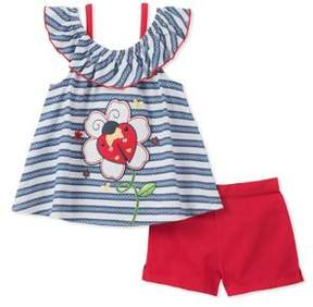 Kids Headquarters Little Girl's Ladybug Top and Short Set