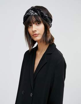 Asos Plaited Headband With Fabric And Diamonte Trim