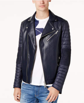 Armani Exchange Men's Faux-Leather Puffer-Sleeve Moto Jacket