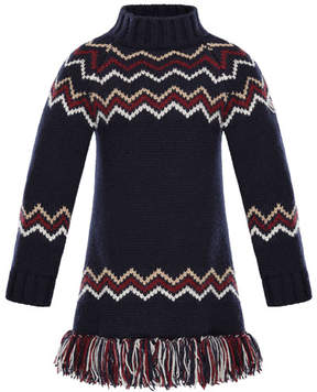 Moncler Abito Tricot Wool-Cashmere Knit Dress