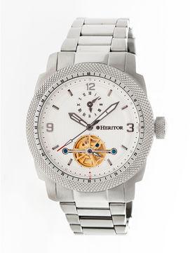 Heritor Helmsley Mens Silver Tone Bracelet Watch-Herhr5001