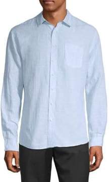 Saks Fifth Avenue BLACK Linen Tencel Shirt