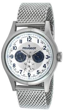 Peugeot Watches Men's Stainless Steel Mesh Multifunction Watch - Silver