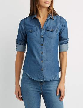 Charlotte Russe Chambray Button-Up Top