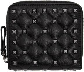 Valentino Black Garavani Rockstud Spike Zip Around French Wallet