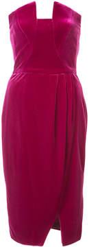 Black Halo draped velvet bustier dress