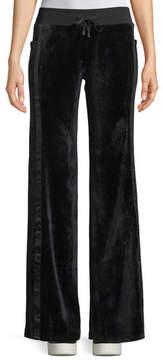Blanc Noir Velour Wide-Leg Drawstring Track Pants