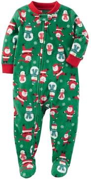 Carter's Toddler Boy Racing Off to Bedtime Christmas Microfleece One-Piece Pajamas