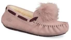 UGG Dakota Fur Pom-Pom Suede Loafers
