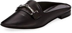 Charles David Melody Leather Flat Loafer Mule w/ Bit Detail, Black