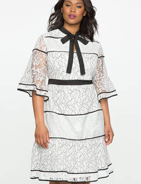 ELOQUII Studio Lace Blocked Dress with Piping