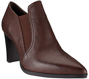 Halston H by Leather Stacked Heel Ankle Boots -Kari