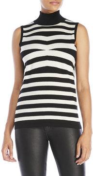 August Silk Black & White Sleeveless Mock Neck Sweater