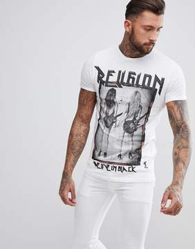 Religion Stepped Hem T-Shirt With Rock Star Print