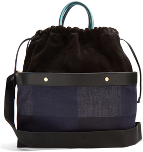 MARNI Double Plume denim and suede bag