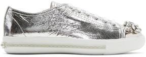 Miu Miu Silver Bejewelled Metallic Sneakers