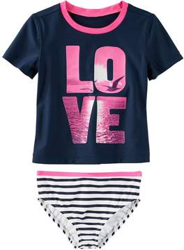 Osh Kosh Oshkosh Bgosh Girls 4-8 LOVE Photoreal Seagull Rashguard & Striped Bottoms Swimsuit Set