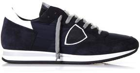 Philippe Model Tropez Blue Suede & Nylon Sneakers