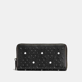 COACH Coach Accordion Zip Wallet With Prairie Rivets - BLACK COPPER/BLACK - STYLE